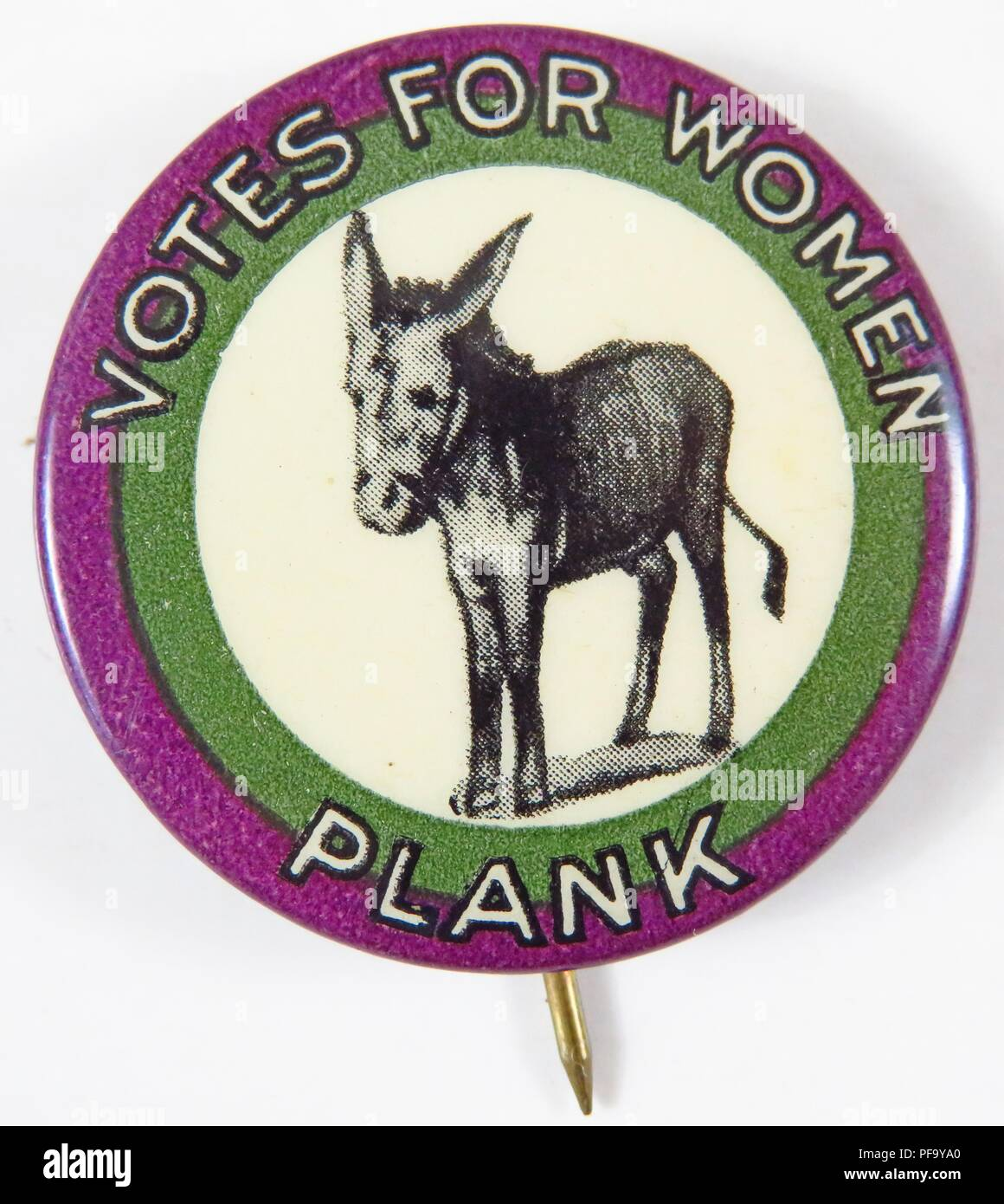 Purple, green and white, celluloid suffrage pin, with donkey symbol at center and the words 'Votes for Women Plank' (plank meaning platform) circling the outer rim, issued by the Connecticut Woman Suffrage Association (CWSA) for the American market, 1916. () - Stock Image