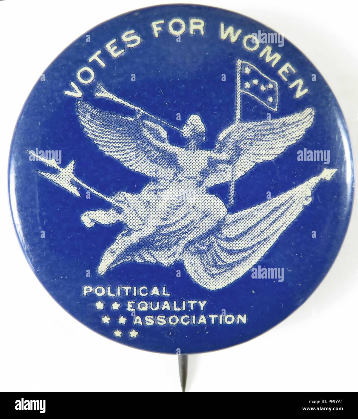 Pinback button with text reading Votes for Women from the Political Equality Association, advocating for women's suffrage, 1910. () Stock Photo