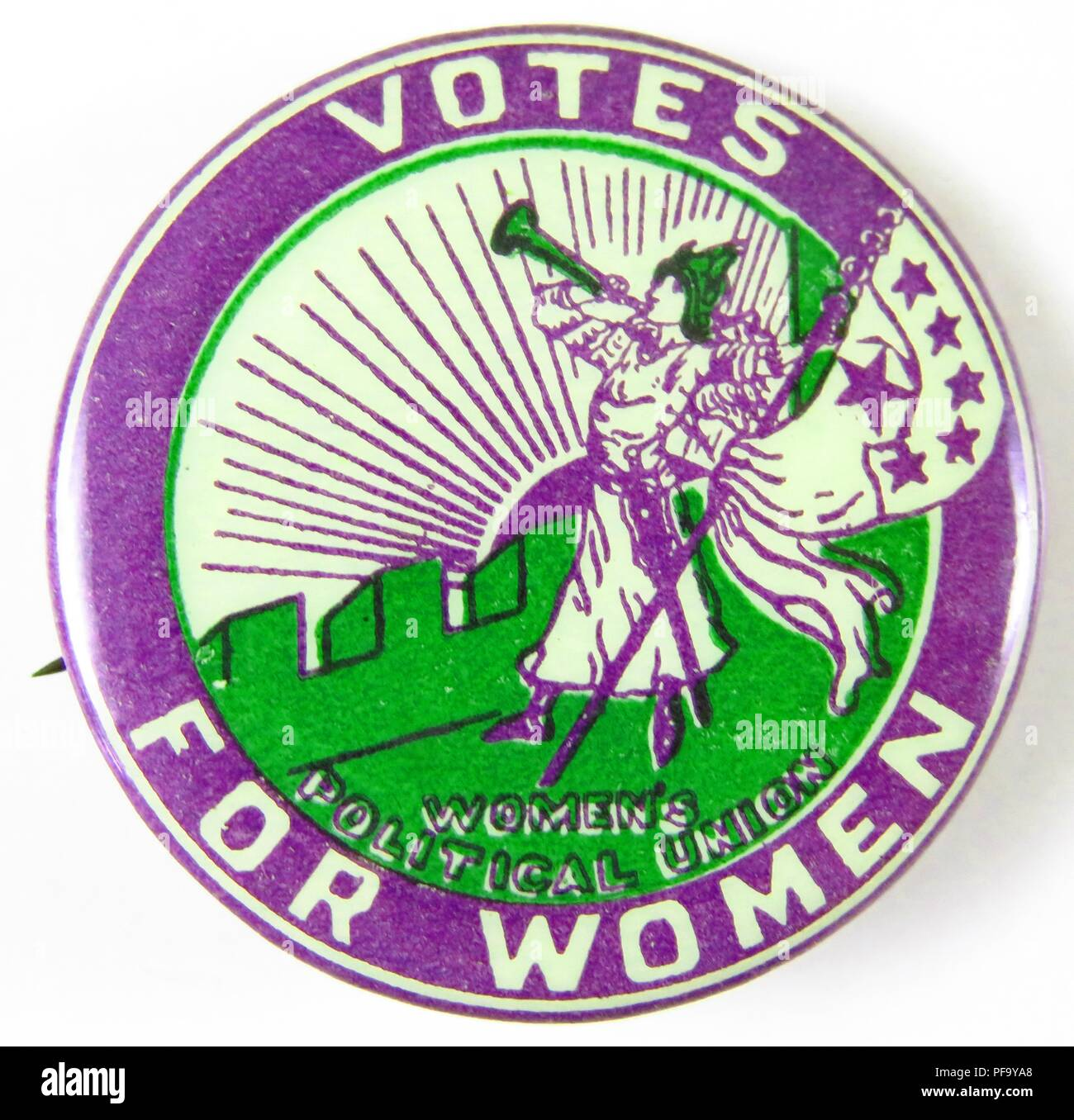 Pinback button reading Votes for Women, advocating for Women's Suffrage, from the Women's Political Union, 1910. () - Stock Image