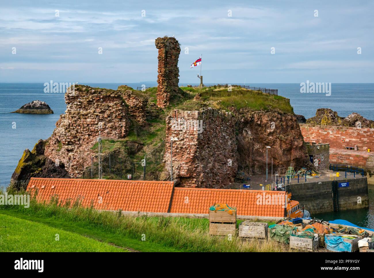 Ruined enceinte walls of Dunbar Castle with RNLI flag, Dunbar harbour, Dunbar, East Lothian, Scotland, UK - Stock Image