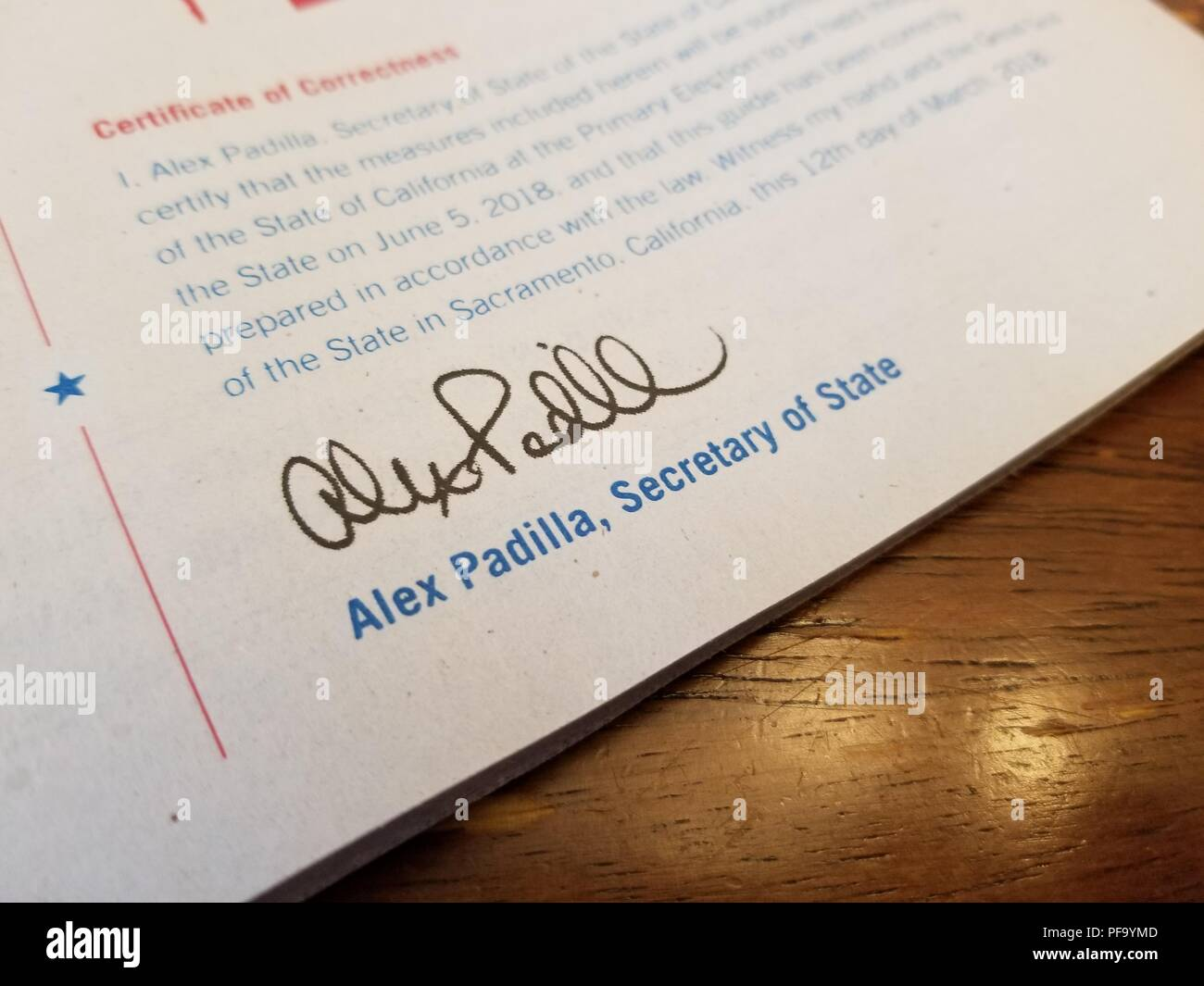 Close-up of reproduced signature for California Secretary of State Alex Padilla on election materials for the California midterm primary elections, May 11, 2018. () - Stock Image