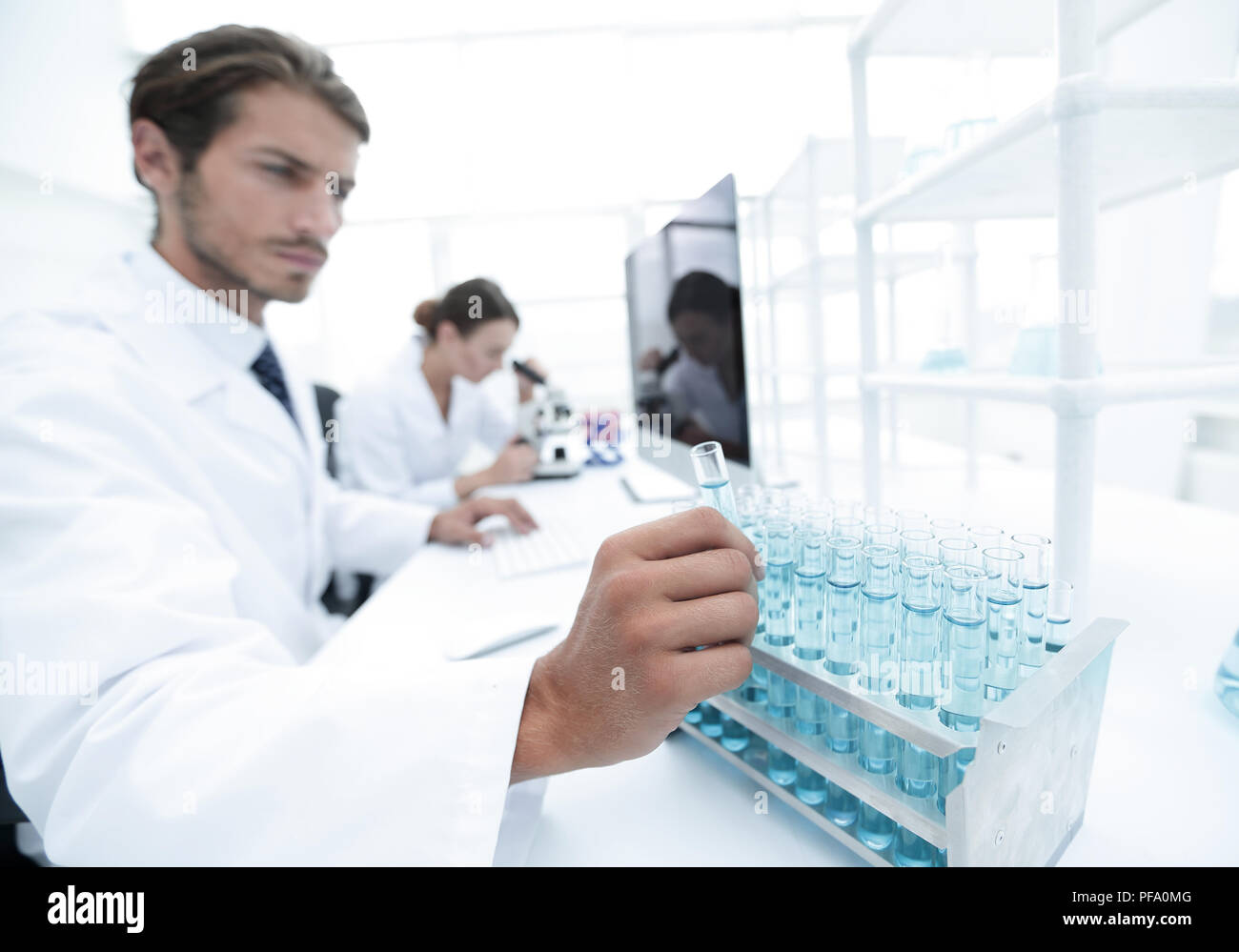 group of students carried experiment - Stock Image