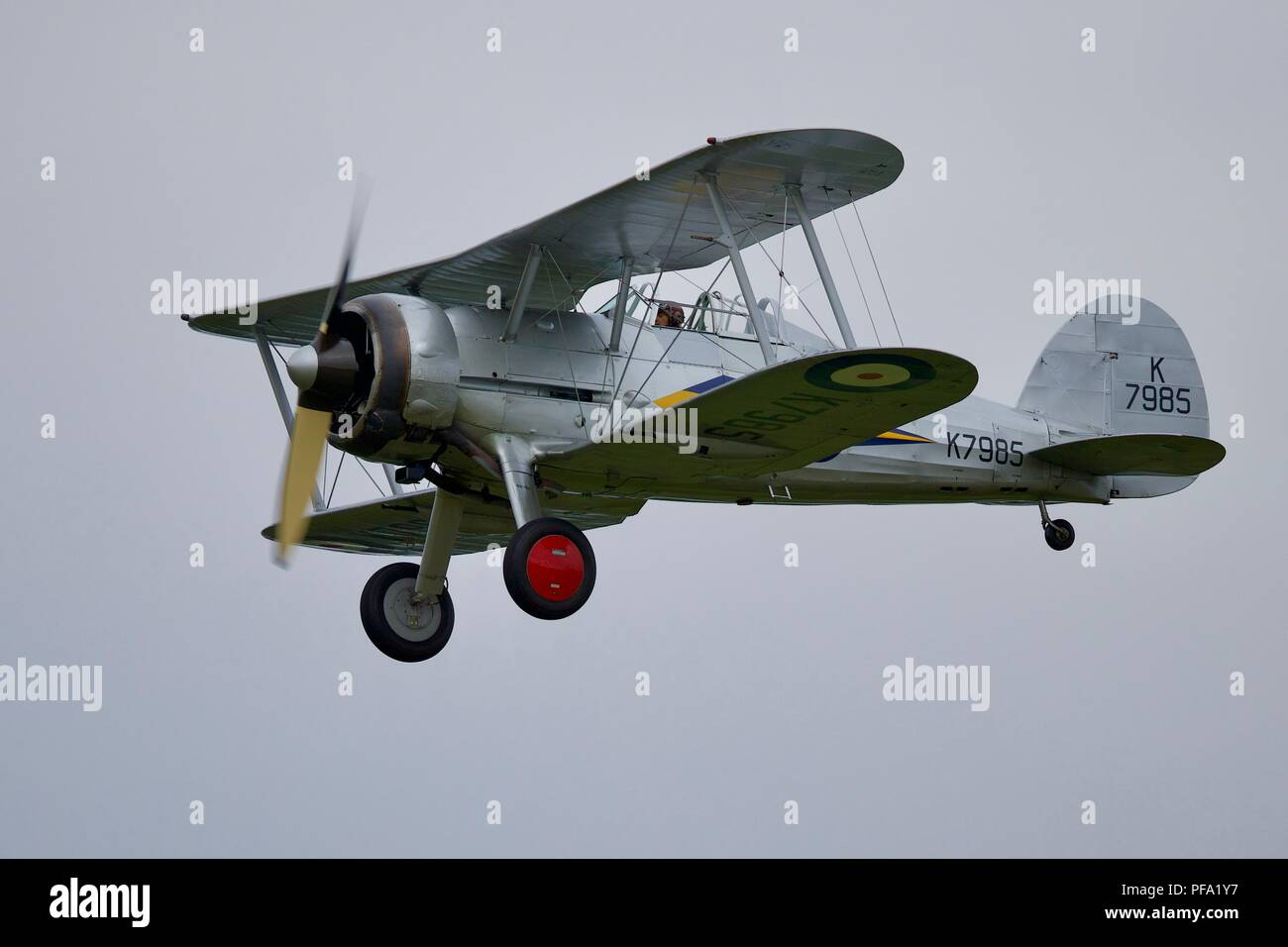 Gloster Gladiator the last bi-plane fighter used by the Royal Air Force, flying at Shuttleworth's 2018 Flying Proms - Stock Image