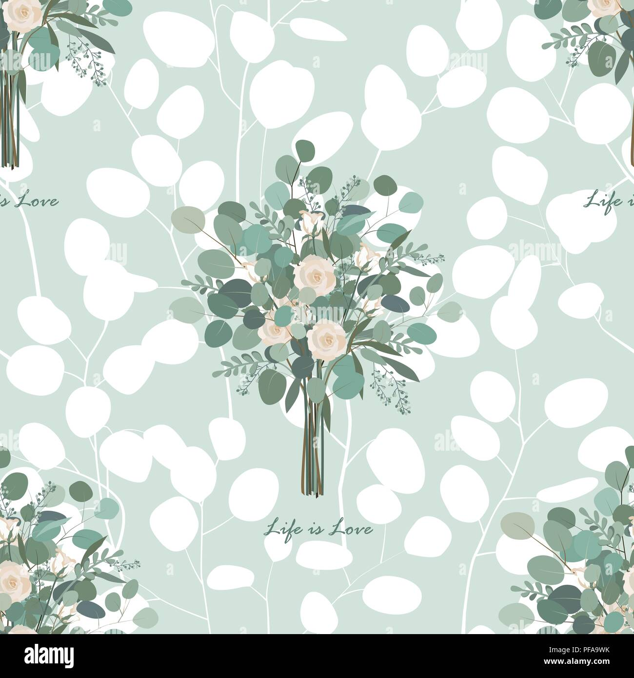 Roses and eucalyptus leaves seamless vector pattern. Vector illustration - Stock Vector