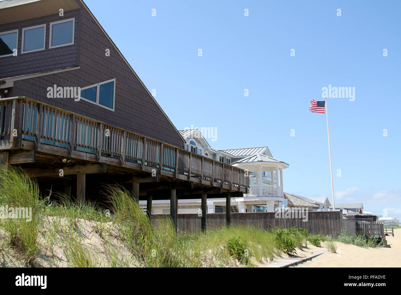 Rental houses on the shore of the Atlantic Ocean, at
