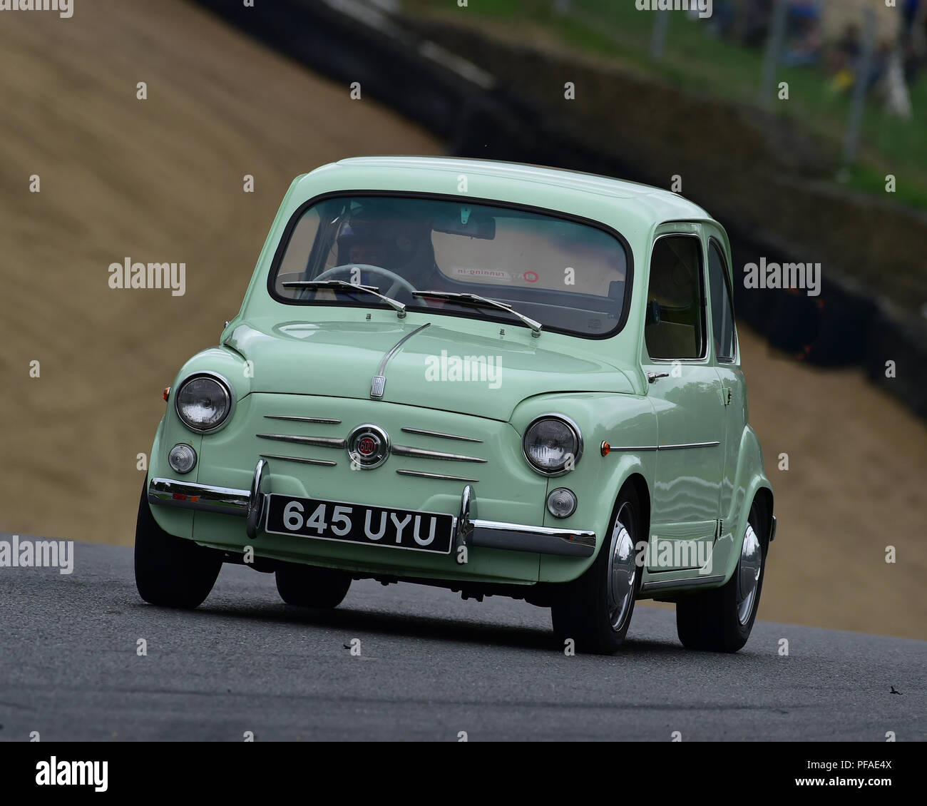 FIAT Abarth 600, Historic Abarth Demonstration, Special Italian Car demo, Festival Italia, Brands Hatch, Kent, England, August 19th, 2018. - Stock Image
