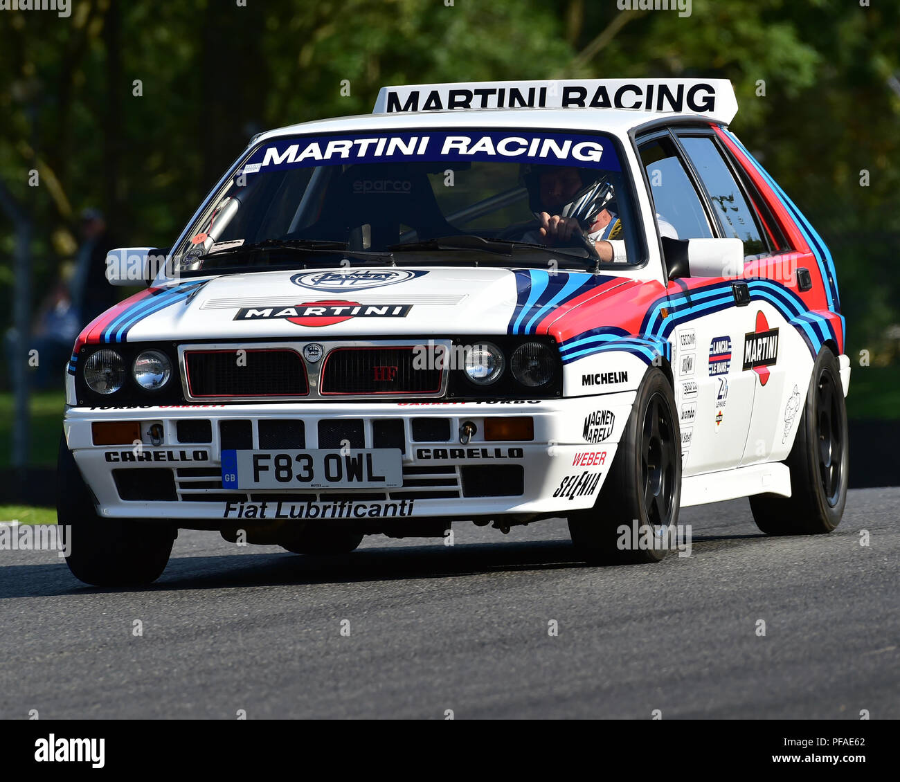 Lancia Delta HF Integrale, Historic Abarth Demonstration, Special Italian Car demo, Festival Italia, Brands Hatch, Kent, England, August 19th, 2018. Stock Photo