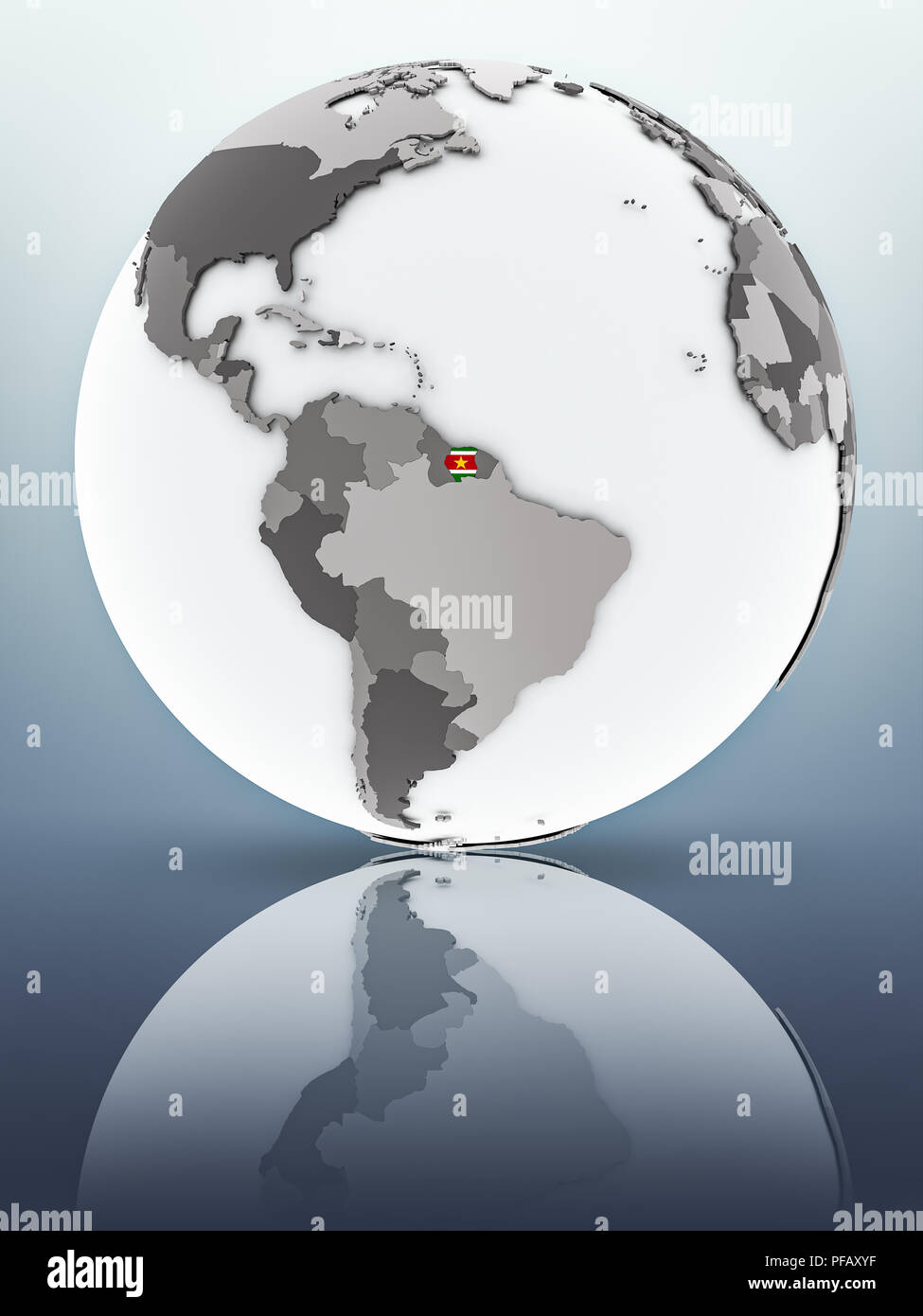 Suriname with flag on globe reflecting on surface. 3D illustration. - Stock Image
