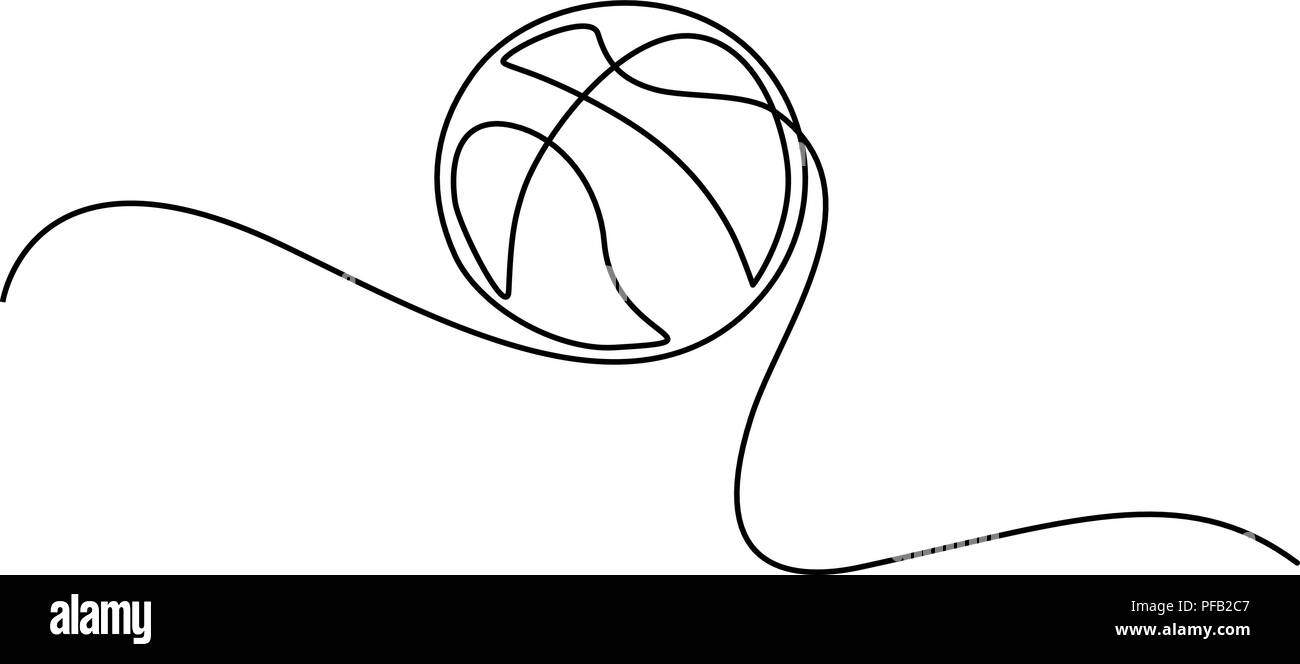 Continuous one line drawing. Basketball icon. Vector illustration - Stock Image