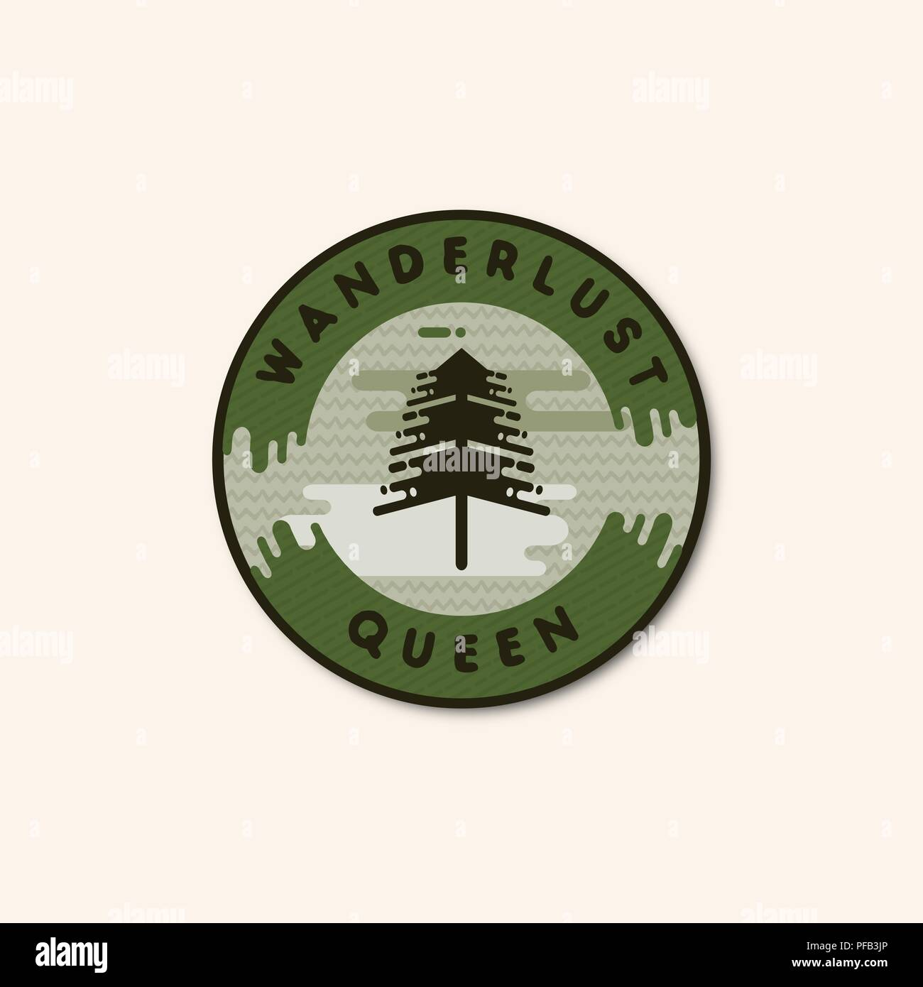 Vintage hand drawn adventure themed retro badge.Logo is perfect for T-Shirts, migs, prints, branding projects, apparel design, greeting cards. Wanderlust queen quote. Stock vector isolated - Stock Vector