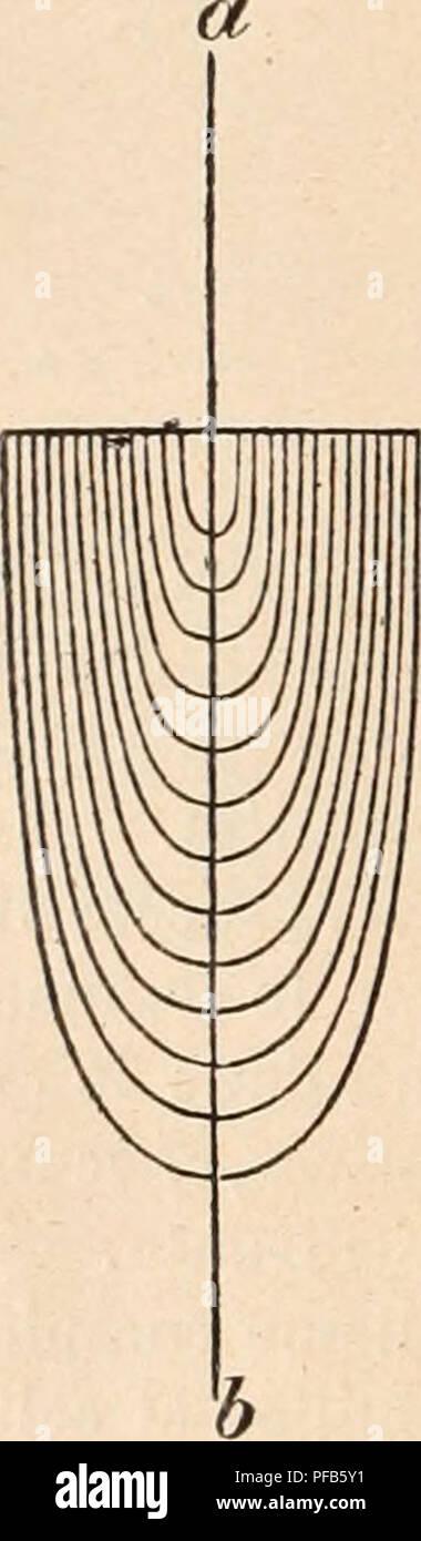. Dictionnaire de physiologie. Physiology. 125 DIOPTRIQUE OCULAIRE. parallèles à l'axe (lignes pleines) lui seraient parallèles après la réfraction. Ceux (lignes pointillées) qui forment un angle avec l'axe du cylindre forment avec lui, au sortir du cylindre,î.le même angle qu'avant son entrée, et ils sont parallèles entre eux; de plus, ils sont situés du même côté de l'axe du cylindre que les rayons incidents. â Cet efiet dioptrique peut être obtenu par deux lentilles convexes identiques distantes entre elles du double de la distance focale. â Un tel cylindre est donc une lunett Stock Photo