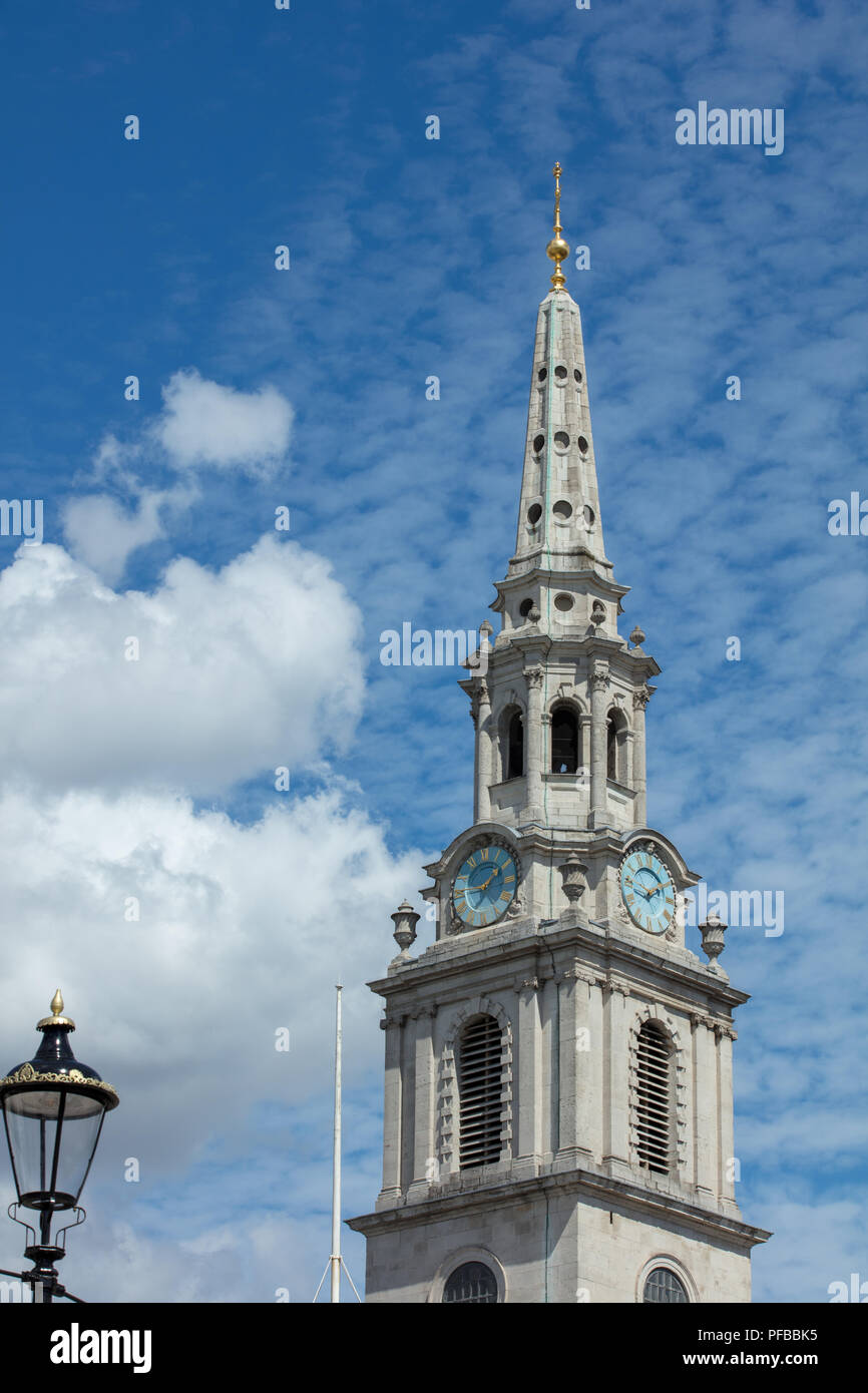 Church spire of St Martin in the Fields, a tourist attraction, Trafalgar Square, London, UK - Stock Image
