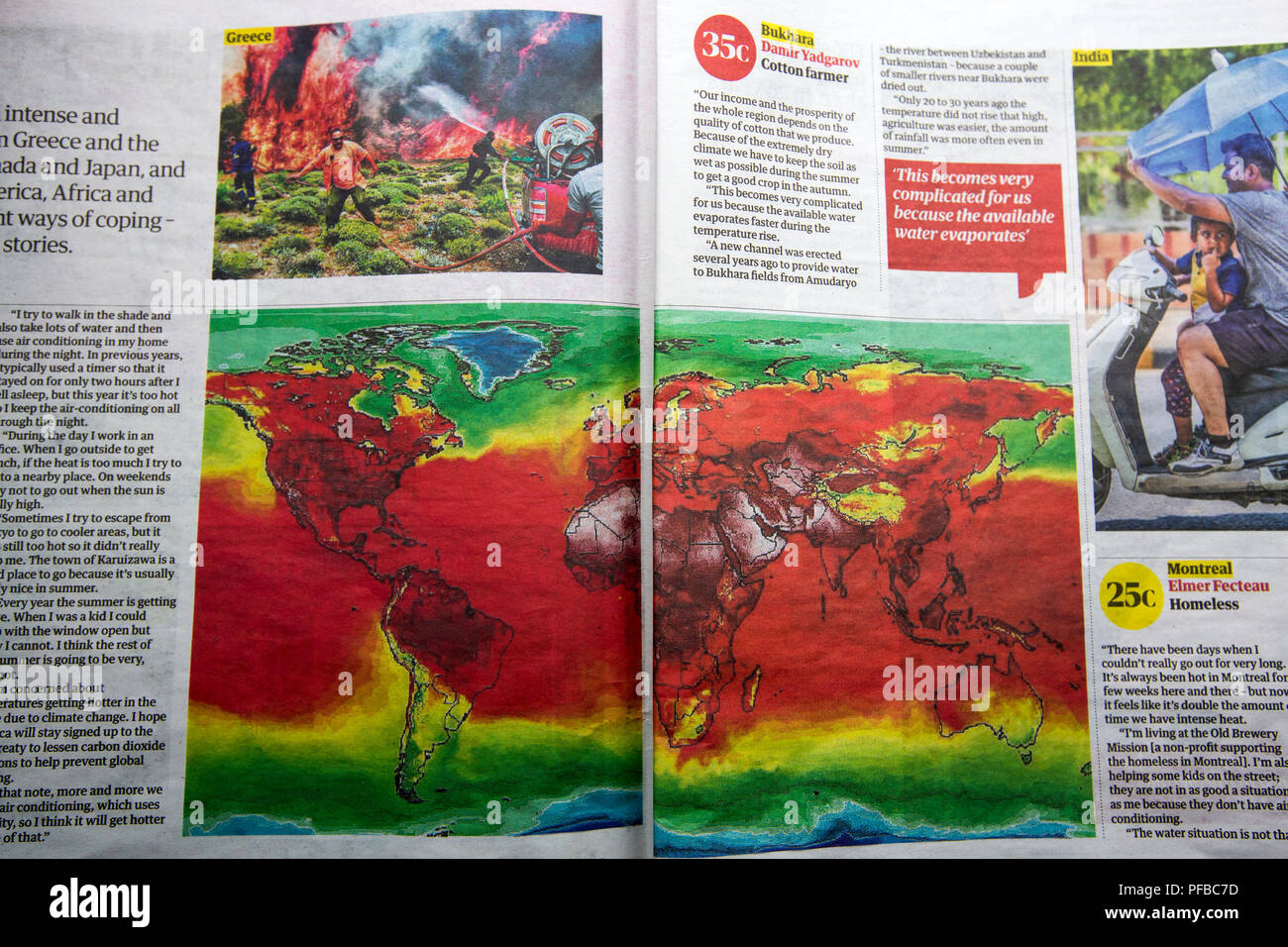 A newspaper article about the summer 2018 heat wave across the northern hemisphere. - Stock Image
