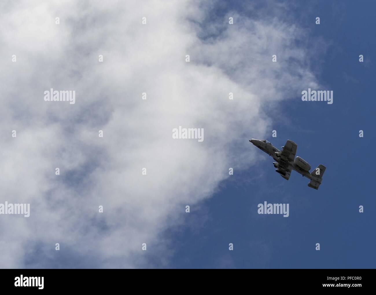 An A-10 Thunderbolt II flies over a field near Adazi, Latvia, June 5