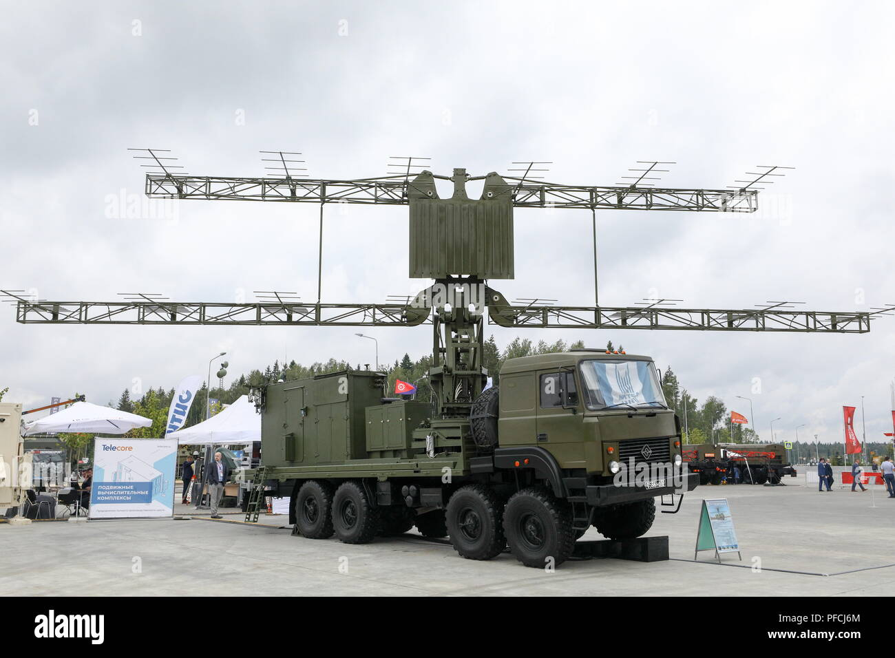 Russia. 21st Aug, 2018. MOSCOW REGION, RUSSIA - AUGUST 21, 2018: A P-18-2 mobile 2-dimensional metric band surveillance radar on display at the Army 2018 International Military and Technical Forum, in Patriot Park. Mikhail Tereshchenko/TASS Credit: ITAR-TASS News Agency/Alamy Live News - Stock Image
