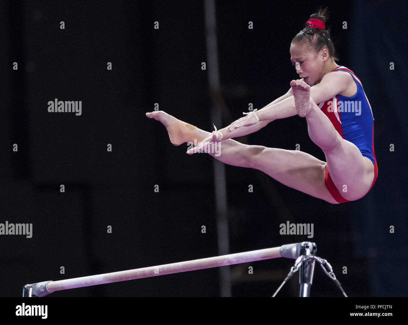 d669ec94d7c1 Kim Su Jong of the Democratic People's Republic of Korea competes during  her Uneven Bars competition of Artistic Gymnastics Women's Qualifications  ...
