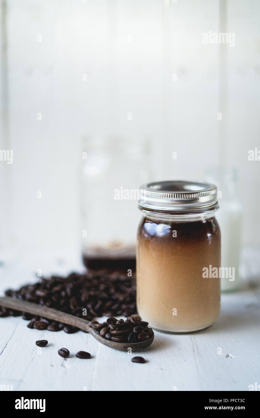 Cold brew coffee Arabica coffee In a glass bottle - Stock Image