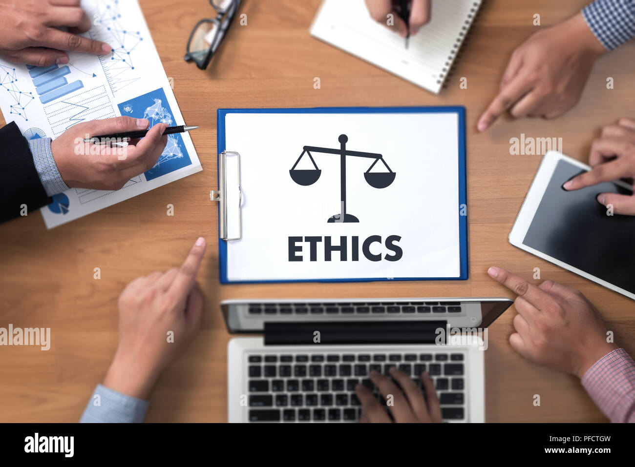 Team work and team  ethics Justice Law Order Legal - Stock Image