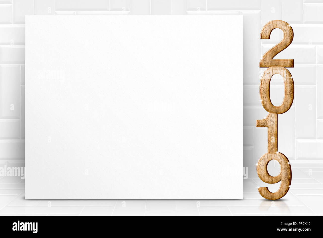 happy new year 2019 with blank white poster greeting card in perspective white tile studio roomleave space for display of design or content
