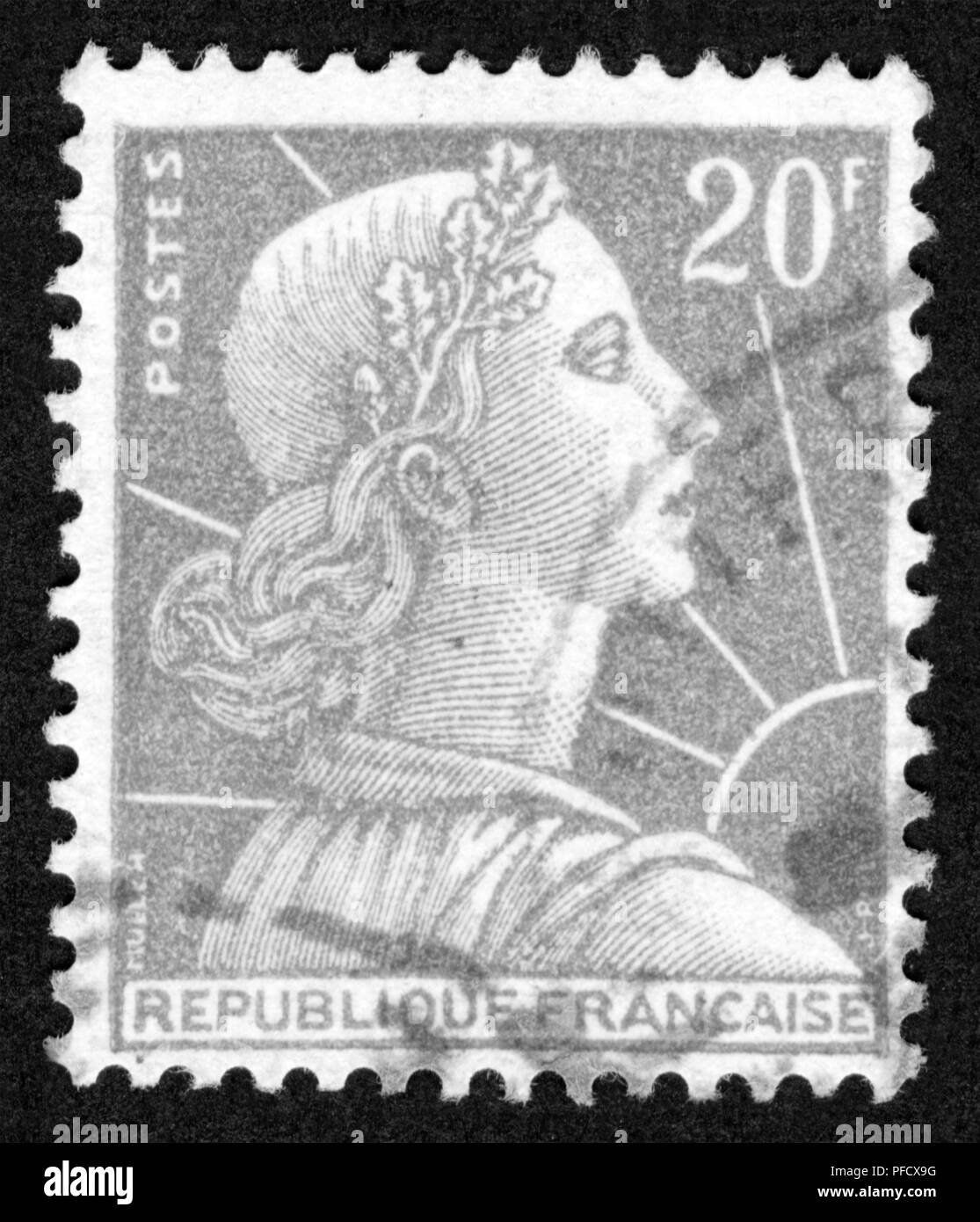 Stamp printed in France - Stock Image