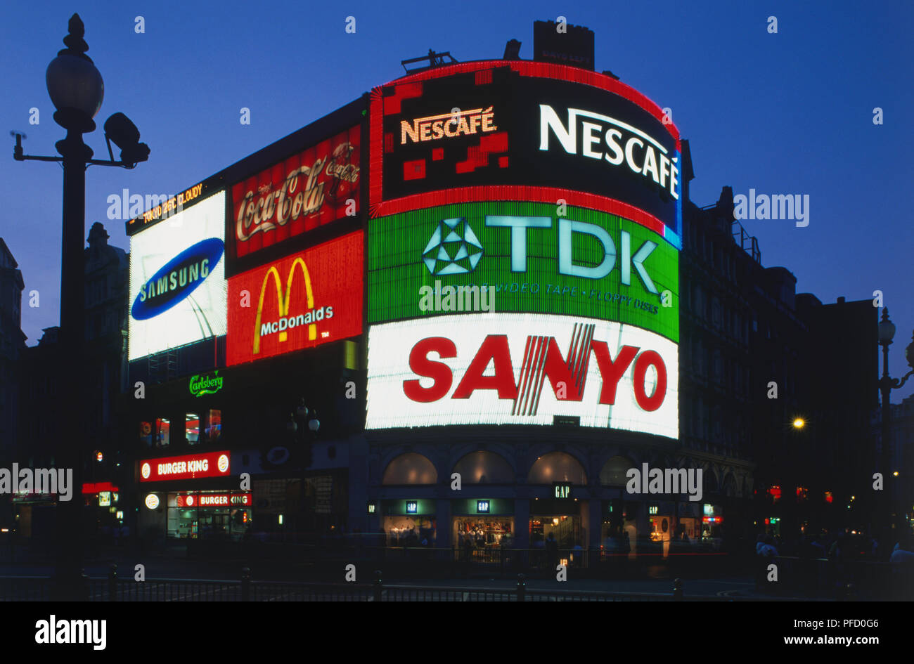 Great Britain, England, London, Picadilly Circus, large neon signs at night. - Stock Image
