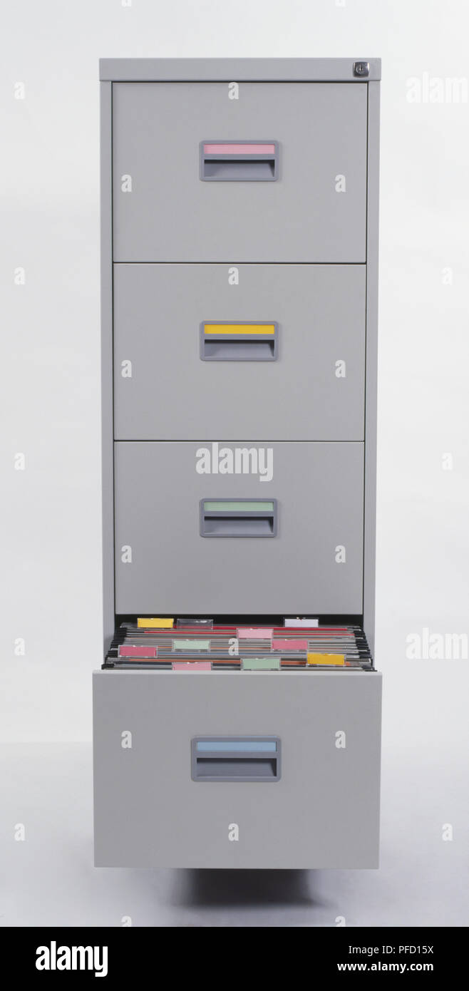 Filing Cabinet, Bottom Drawer Pulled Out Showing Files, Front View.