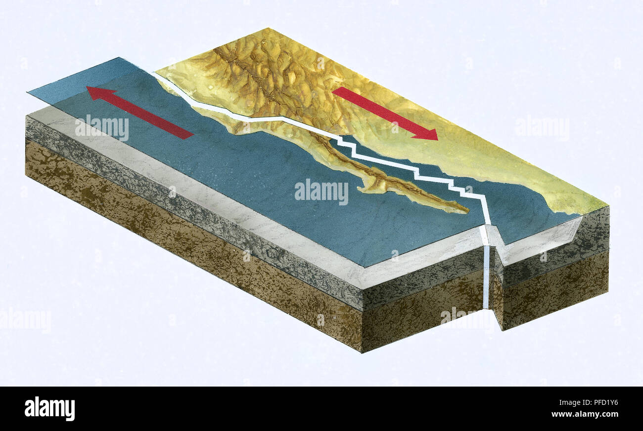 Illustration showing opposing forces between Pacific and North American Plates along San Andreas Fault - Stock Image