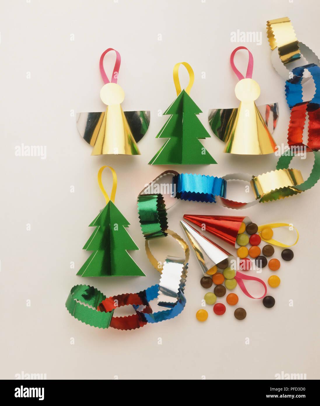 Angel Shaped Christmas Tree.Multi Coloured Christmas Tree Decorations Angel Shape Tree