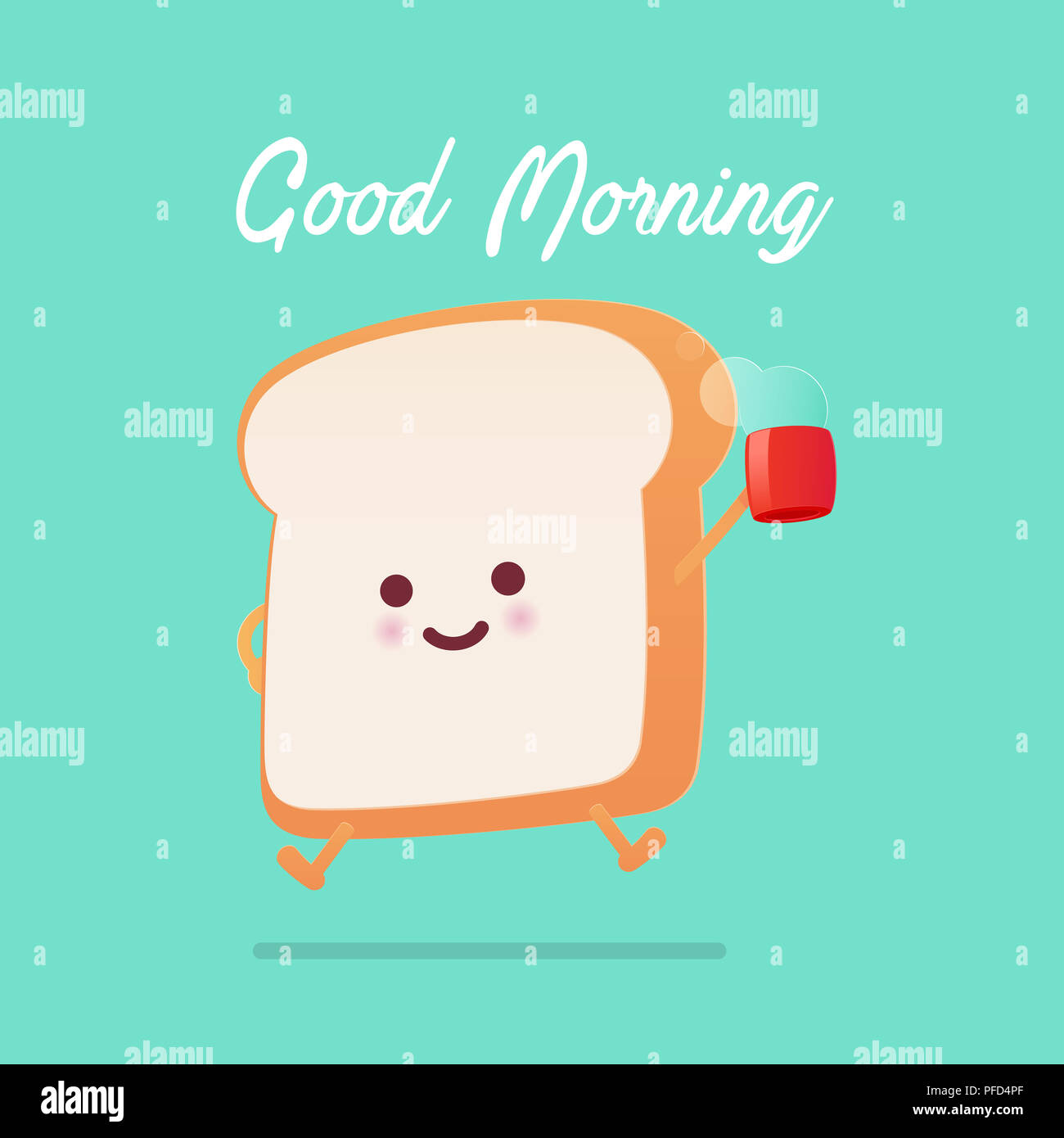 Good Morning Greeting On Toasted Bread Cartoon Against Green
