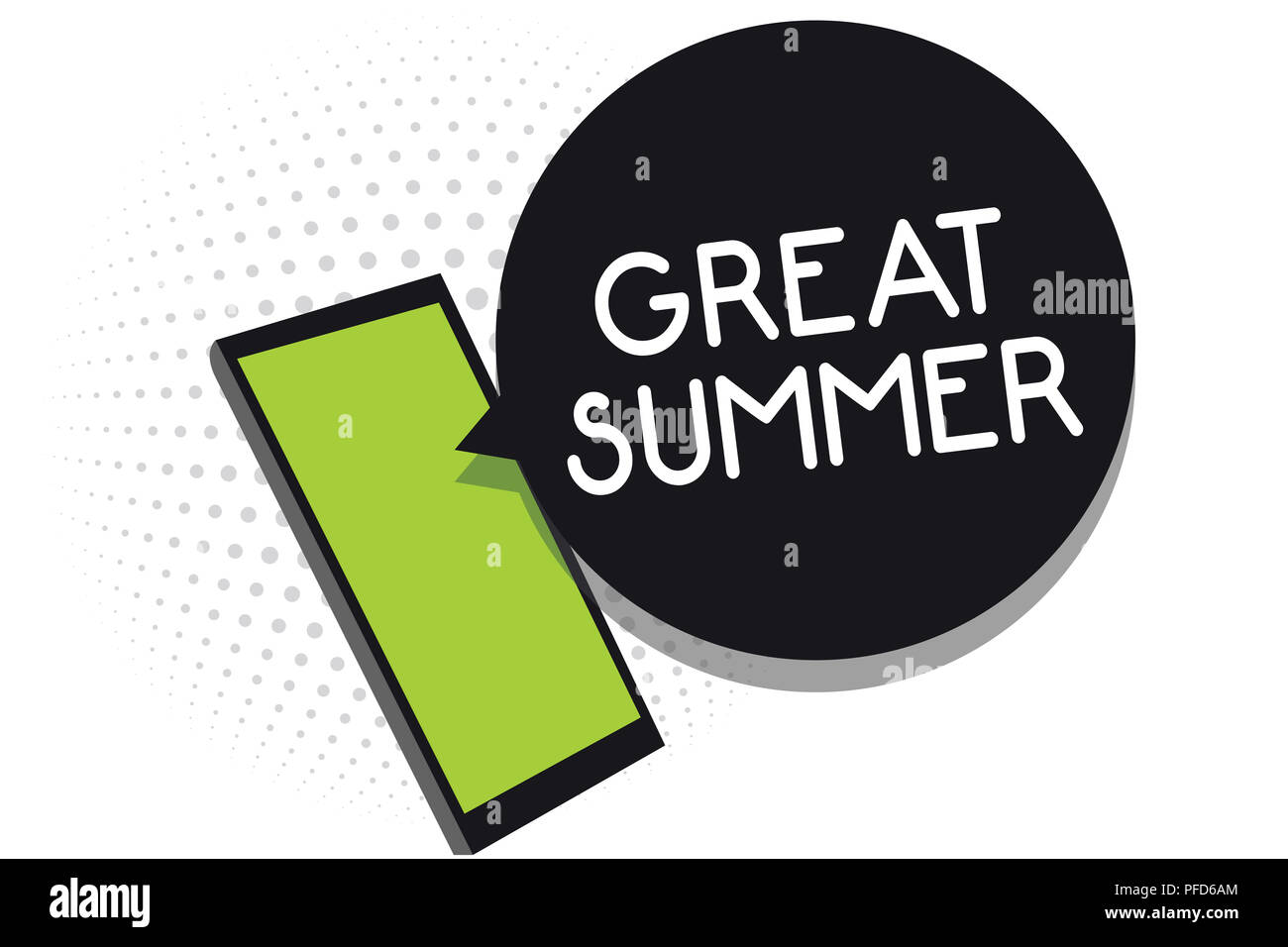 Handwriting text Great Summer. Concept meaning Having Fun Good Sunshine Going to the beach Enjoying outdoor Cell phone receiving text messages chats i - Stock Image