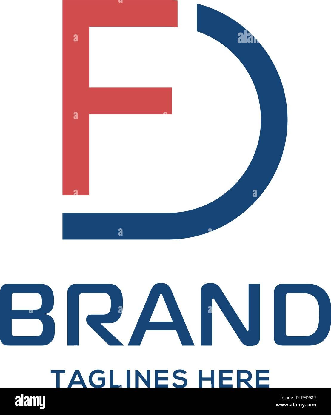 fd letter logo design vector illustration template f letter logo