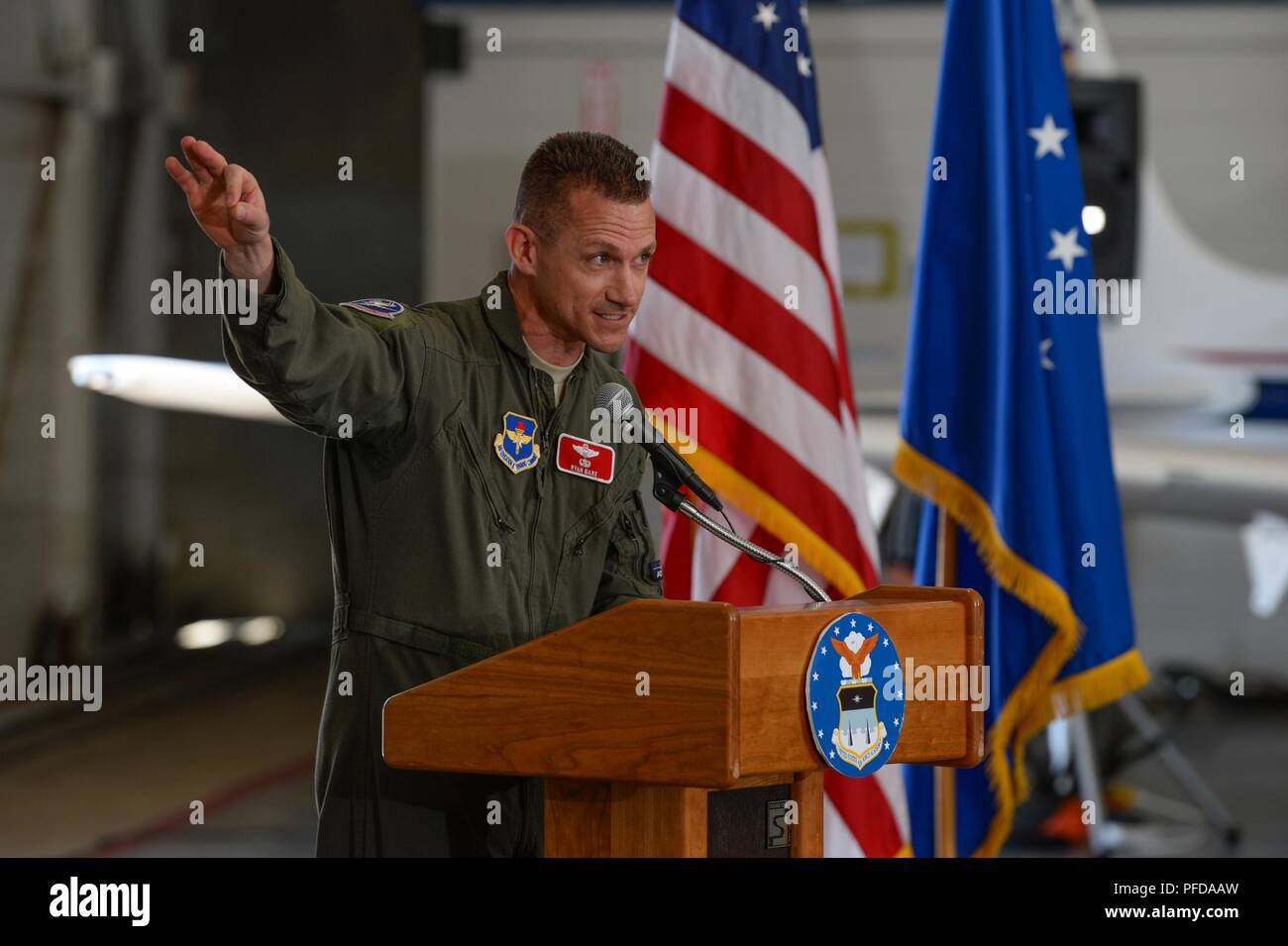 87a21c43eaa U.S. Air Force Academy -- Lt. Col. Ryan Bare, 306th Operations Support  Squadron incoming commander, delivers a speech during the change of command  ceremony ...