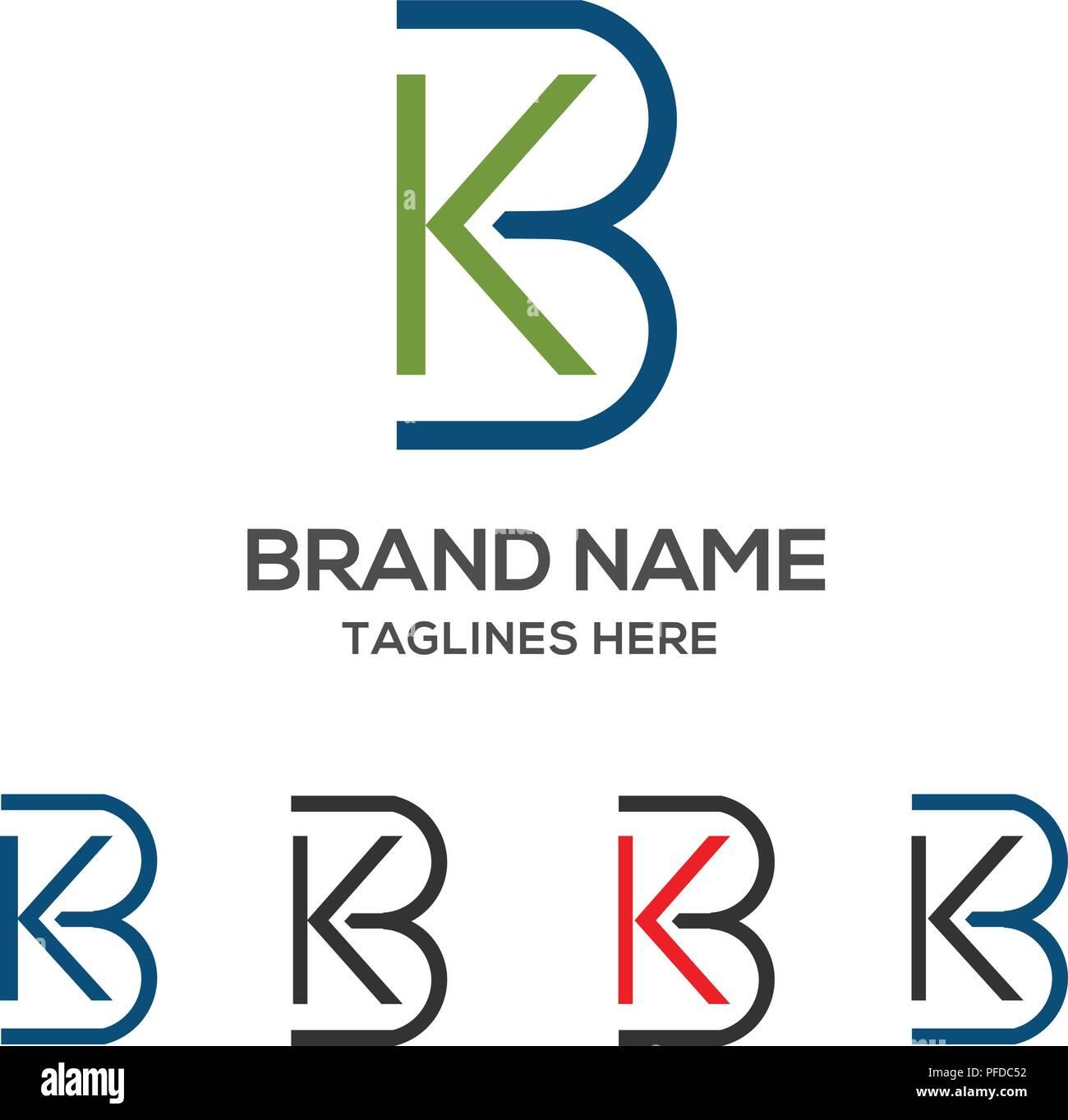 KB letter logo design vector illustration template,K letter logo vector, letter K and B logo vector, creative Letter KB letter logo Stock Vector