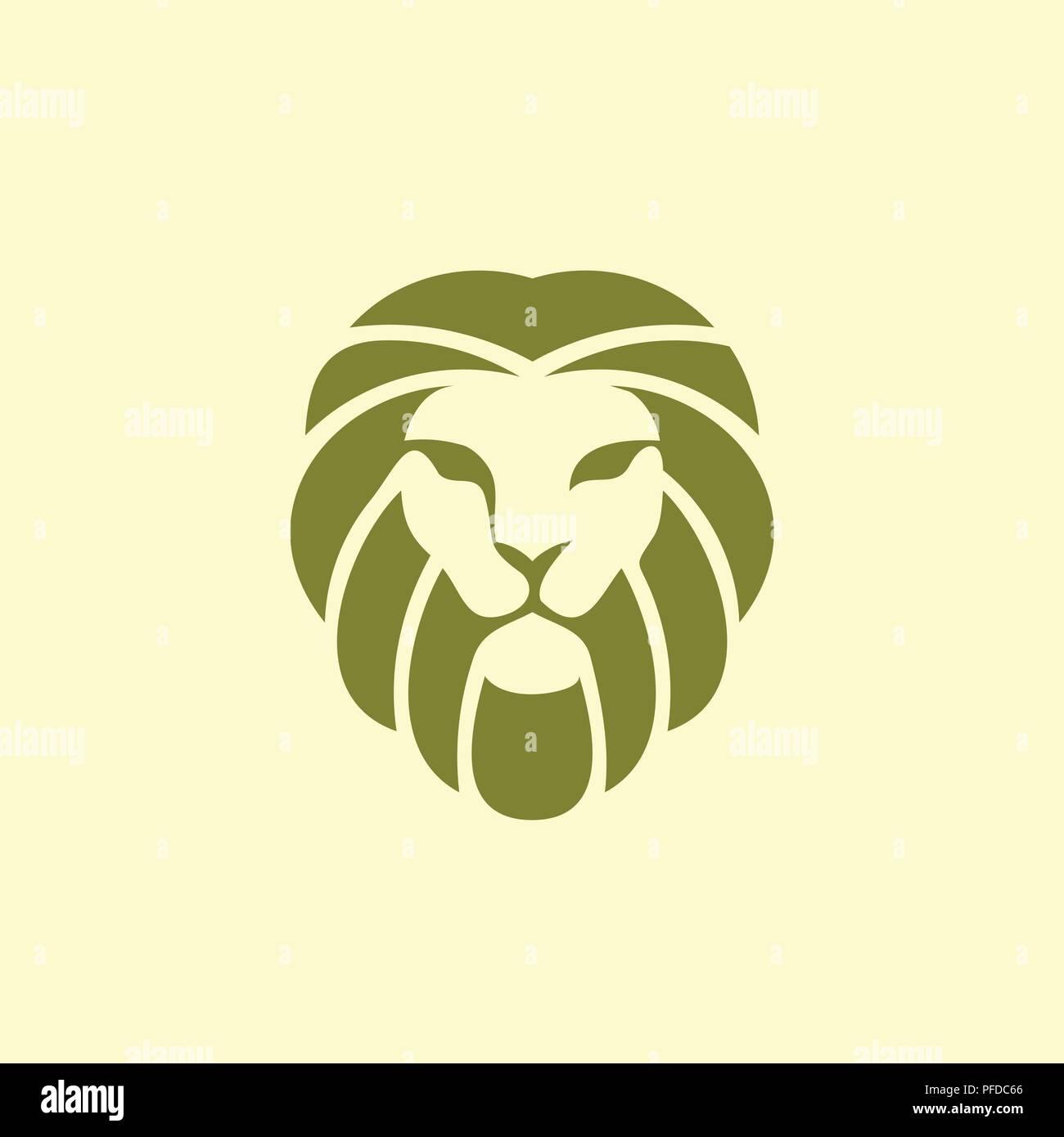 creative simple flat emblem lion king logo vector, Lion logo design