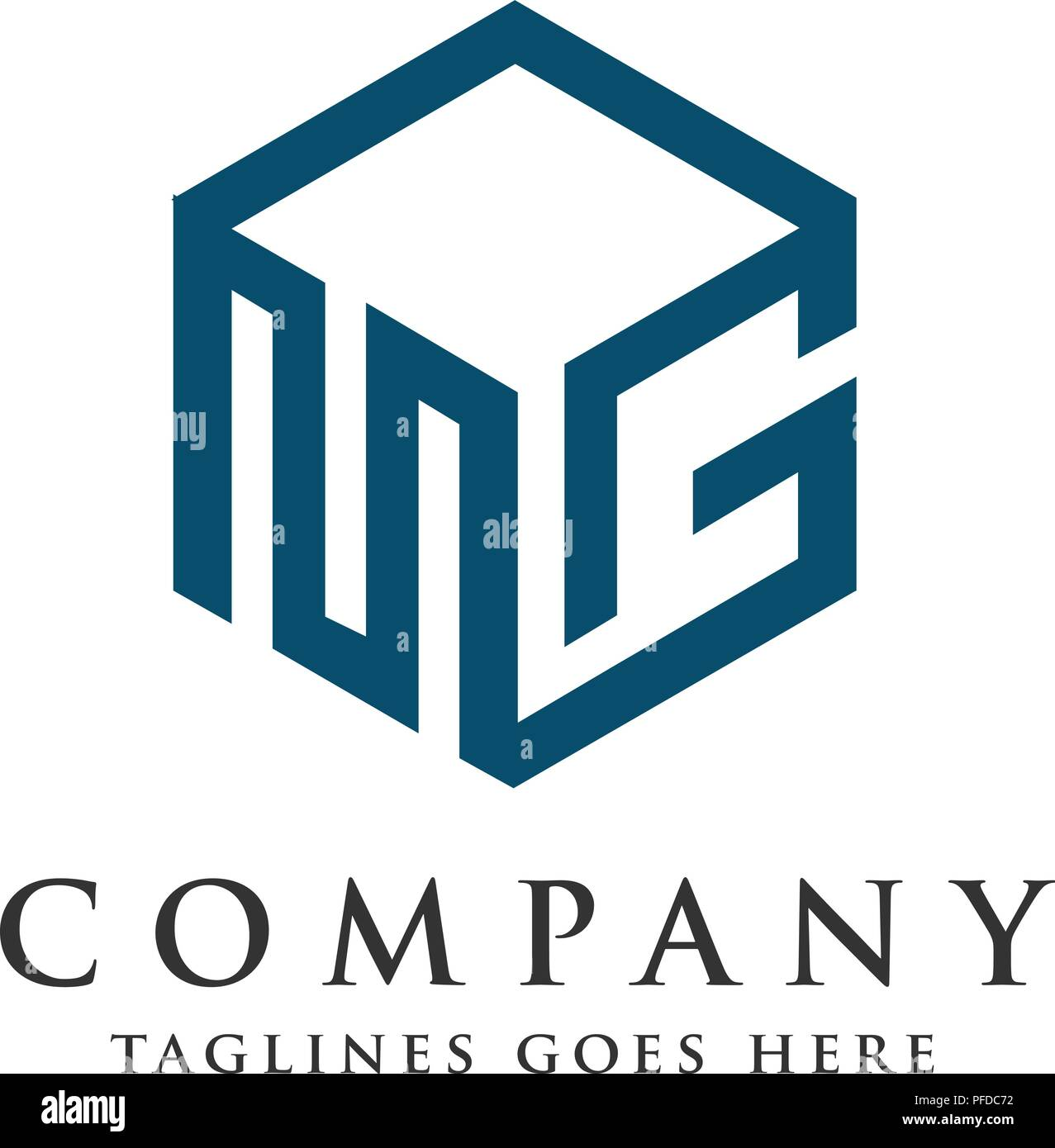 letter mg logo with 3d square design vector illustration template