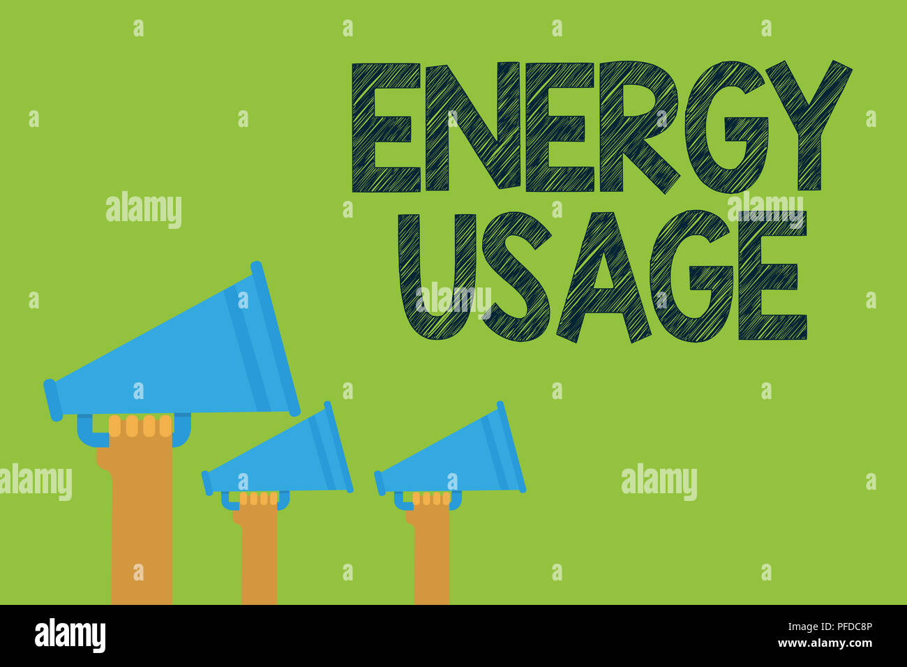 Conceptual hand writing showing Energy Usage. Business photo text Amount of energy consumed or used in a process or system Hands holding megaphones lo - Stock Image