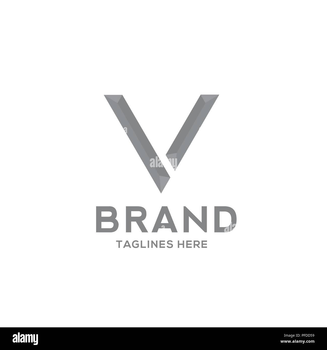 letter v strong logo vector illustration template letter v trend