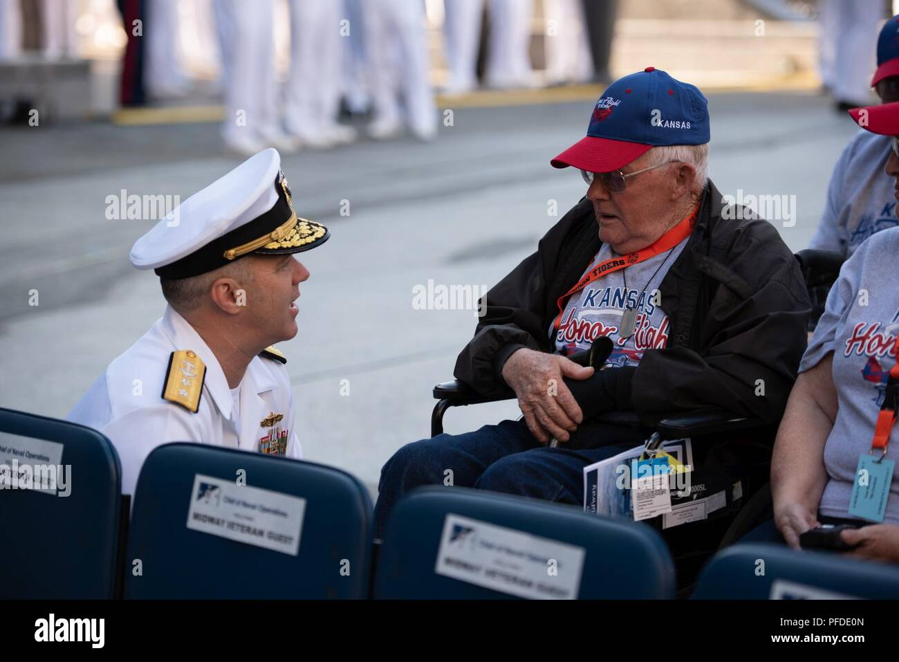 WASHINGTON (June 5, 2018) Rear Adm. Ronald Boxall meets with members of an Honor Flight from Kansas at the U.S. Navy Memorial in Washington, D.C., before the commemoration of the 76th anniversary of the Battle of Midway. The Battle of Midway began on June 4 in 1942 and stands as one of the U.S. Navy's most historically significant naval battles. Fought on the high seas of the Pacific more than half a century ago, this battle altered the course of the war in the Pacific and thereby shaped the outcome of world events. - Stock Image