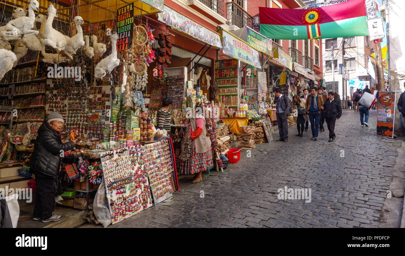 Stores And Stalls Of The Witches Market Calle Linares La Paz Bolivia Stock Photo Alamy