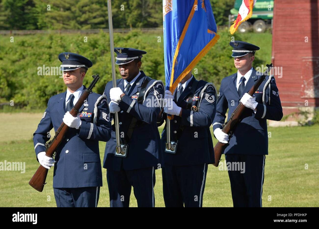 The New York Air National Guard 106th Rescue Wing honor guard prepare to post the colors at the 40th Memorial Anniversary of Jolly 85 at VFW Post 1505, Keeseville, N.Y., June 13, 2018. On June 13, 1978, an HH-3E Jolly Green Giant Helicopter from the 102nd Aerospace Rescue and Recovery Group now the 106th Rescue Wing in West Hampton Beach N.Y., was returning to base after training at Plattsburgh Air Force Base, N.Y. After encountering inclement weather, the seven members turned back to Plattsburgh, but with low visibility, the HH-3E hit the Trembleau Mountain just below its peak. - Stock Image