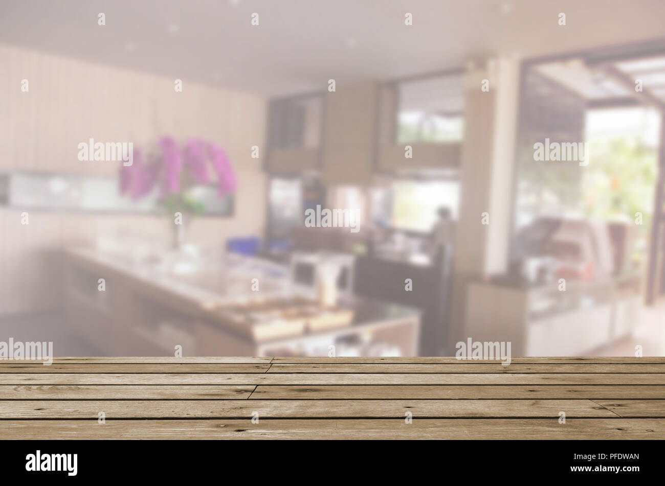 Pleasing Wood Table Top And Abstract Blurred Food Bar Can Be Used Home Interior And Landscaping Pimpapssignezvosmurscom