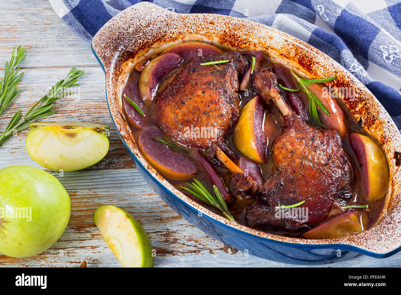 Duck baked in the oven with apples: recipe