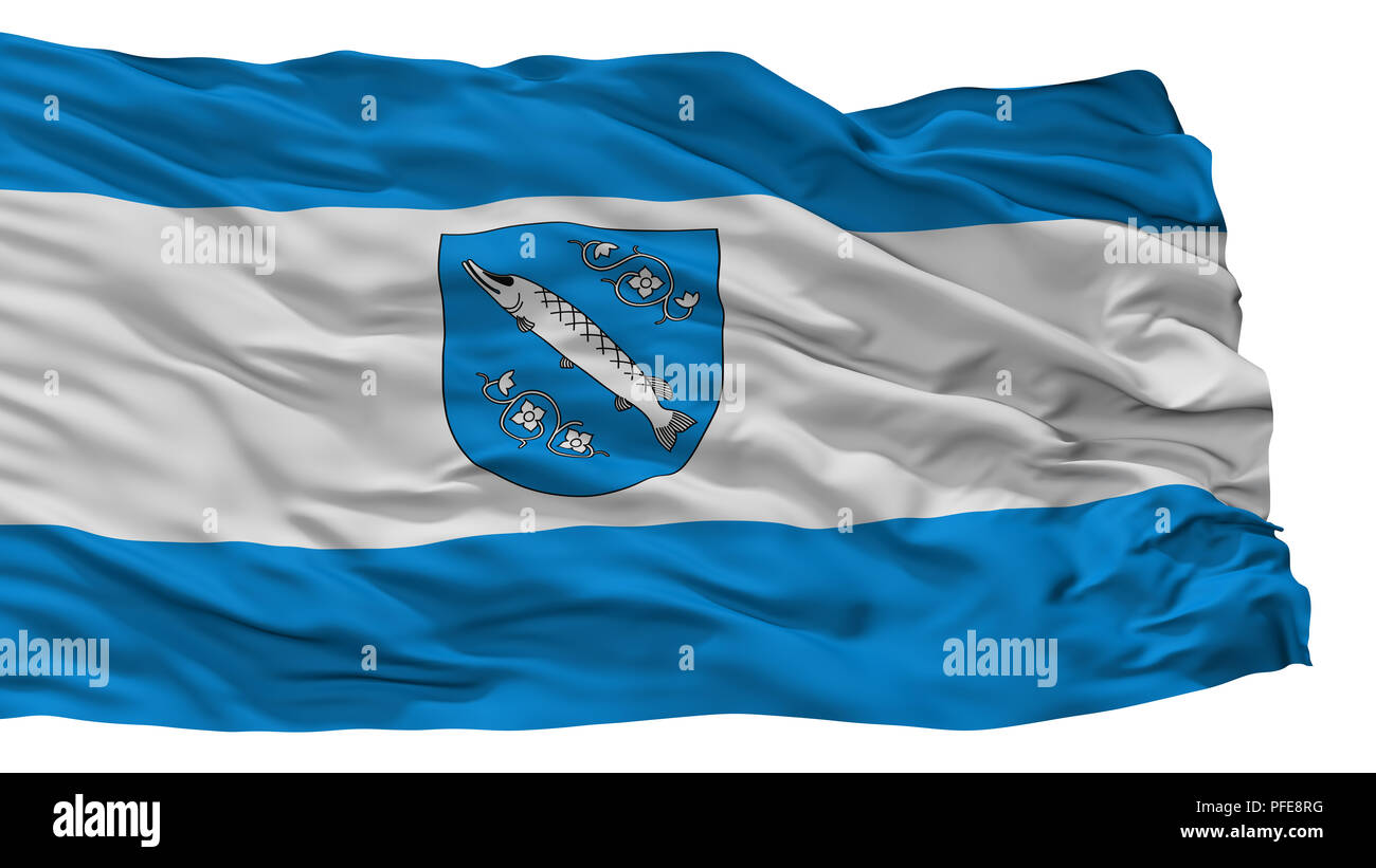 Rybnik City Flag, Poland, Isolated On White Background - Stock Image