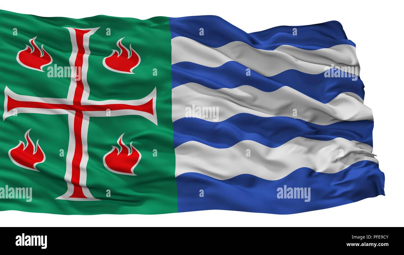 Mayaguez City Flag, Puerto Rico, Isolated On White Background - Stock Image