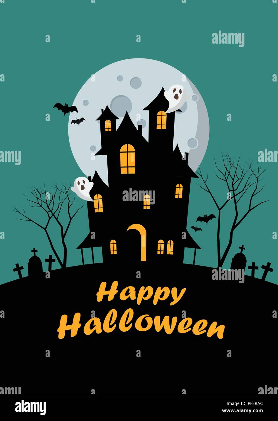 Halloween family and haunted house greeting card. Vector illustration - Stock Vector