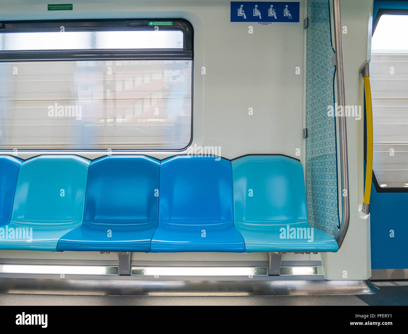 Malaysia's MRT (Mass Rapid Transit) priority seats. Stock Photo