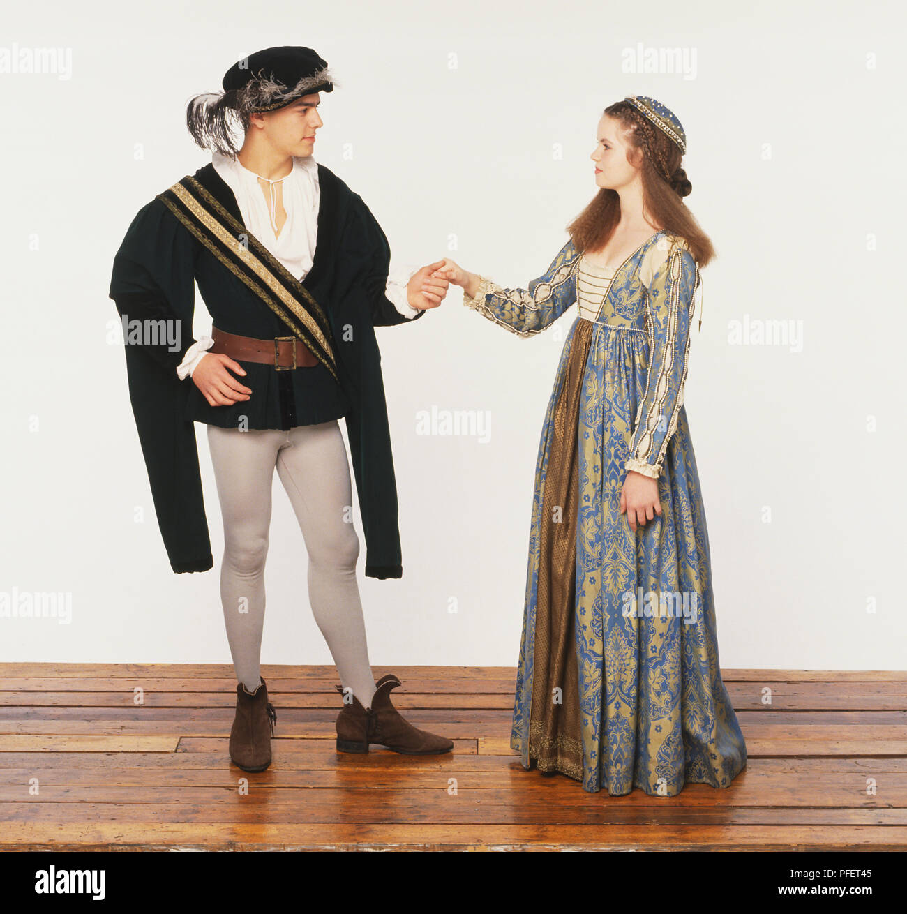 Man and woman dressed in 16th century clothing Stock Photo