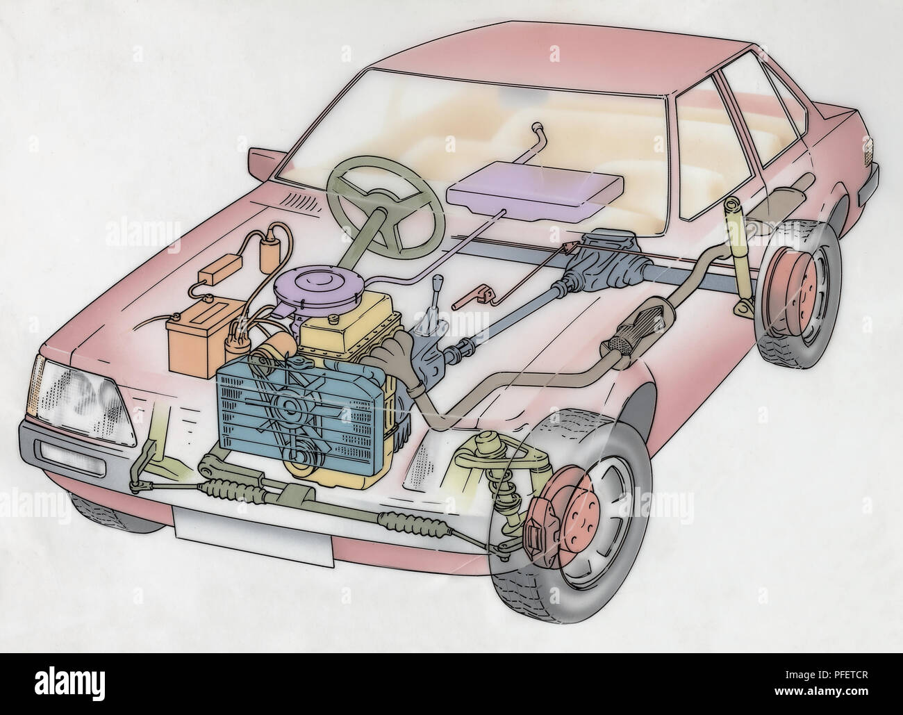 artwork-cross-section-diagram-of-a-car-showing-the-engine -radiator-battery-carburettor-drive-shaft-suspension-disc-brake-exhaust-system-and-fue-PFETCR.jpg