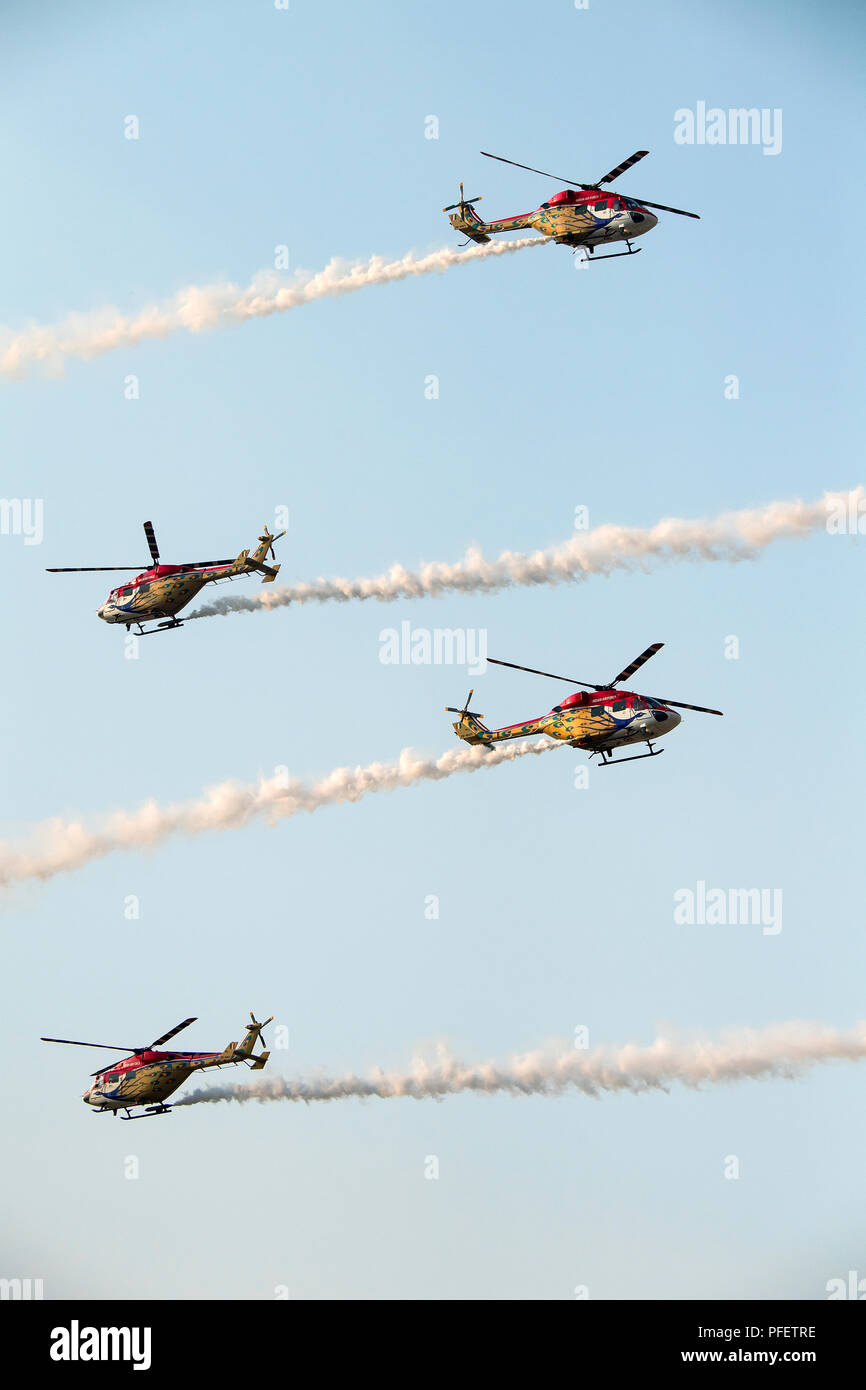 The image of  Dhruv Helicopter seen during one of the aerobatics display at Aero India show in Yelahanka, Banglore, India - Stock Image