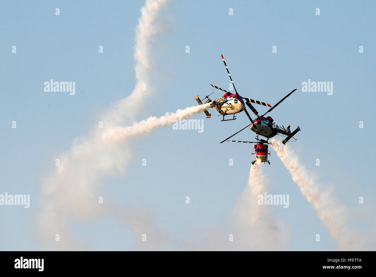 The image of  Dhruv Helicopter seen during one of the aerobatics display at Aero India show in Yelahanka - Stock Image